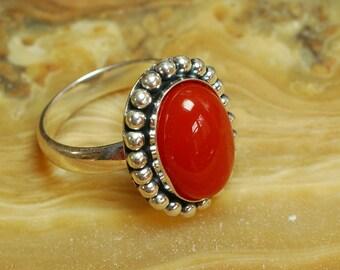 Sterling Silver gemstone ring, Red Jasper ring, 925 Sterling Silver ring, Antiqued Red Jasper ring