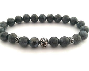 Men's Beaded Bracelet, Larvikite Bracelet, Men's Bracelet, Ladies Bracelet,
