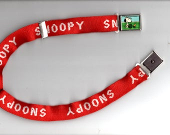 Summer Sale Free Shipping Vintage 1958/65  Peanuts Snoopy Playing Tennis Belt Red and White United Features Syndicate - Children's Size