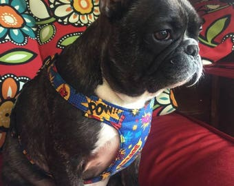 French Bulldog Harness /Superheroes/No Pull harness/Soft Harness