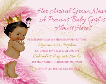 African American Girl Baby Shower Invites