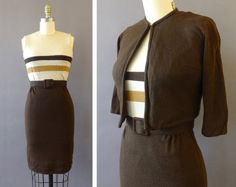 50s 60s Earth Horizons Set- 1950s 1960s Vintage Dress and Matching Jacket - Brown Beige Sleeveless Wiggle Dress - Brown Cropped Jacket -