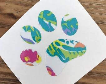 Paw Print Decal | Lilly Pulitzer Inspired Paw Print Decal | Lilly Pulitzer Inspired Decal | Animal Decal | Dog Decal | Paw Print Sticker