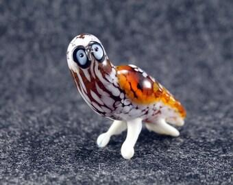 Glass  Owl  Bird.Art Murano Glass Bird.Great Bird Gift.Glass Birds.Fused Glass.Bird Ornament.Lampwork Glass Bird.Glass Bird Decor(l9)