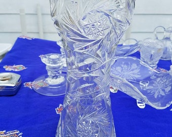 10 Inch Pinwheel Design Cut Glass Possibly Crystal  Vase