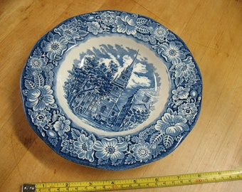 "6pc  Staffordshire  Liberty  Blue  Old North  Church 8 3/4"" Dnner  Bowls England"