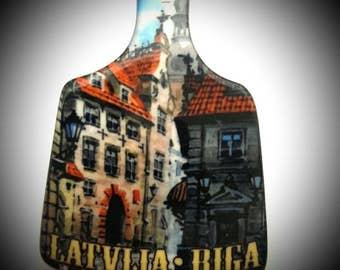 Fridge Magnet Porcelain Handmade Old Riga Tourist Travel Souvenir Gift