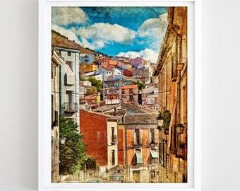 Cityscape Print Mediterranean City Printable Wall Art Mediterranean Travel Poster Houses Print Street Scene Travel Gift DIY Digital Download