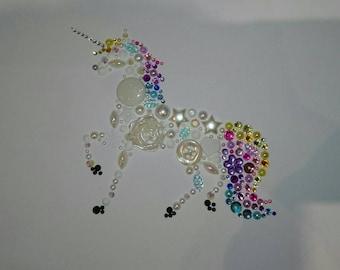 Sparkly unicorn picture. Unique Rainbow, button art style unicorn!