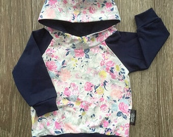 Hoodie for baby and child, small pink pastel flowers