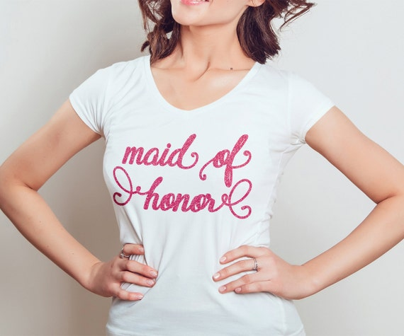 Maid Of Honor Gifts From Bride: Maid Of Honor Shirt Glitter V-Neck Bride Gift Bridesmaid