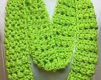 Lime Green Summer Scarf, Crochet Scarf, Green Scarf, Skinny Scarf, Cotton Scarf, Lightweight Scarf, Crocheted Scarf, Gifts for Her