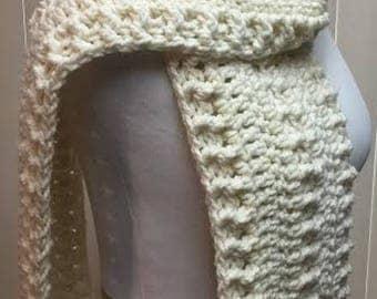 Off White Crochet Scarf, Wide Scarf, Cream Scarf, Chunky Scarf, Open End Scarf, Cream Crochet Scarf, Crocheted Scarf, Winter Scarf