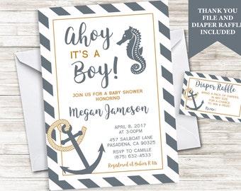 Rustic Nautical Baby Shower Invitation Ahoy Boy Denim Blue Anchor Seahorse Invite Sprinkle  5x7 Digital Personalized
