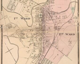 1877 Map of Paris Bourbon County Kentucky