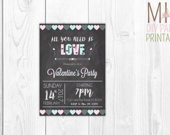 Valentine Invite 6Valentines Party Invitation Printable, Valentines Invitation,Valentine's Day Birthday Invitation