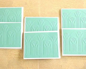 6 Art Deco Tulips Embossed Note Cards, Seafoam Green Blank Cards, All Occasion, Thank You-Just Because, TwoSistersGreetings Handmade Cards