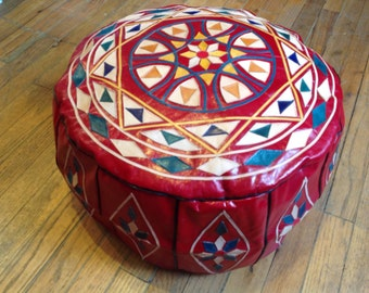 Red Floor Pouf Etsy