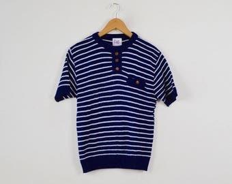 Striped Blue & White Top     Stripey Vintage Blue Tee    Vintage Nautical Style Top