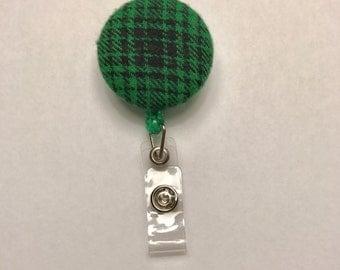 Badge reel, green and black plaid badge reel