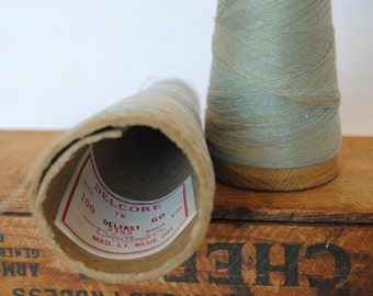 Set of Two Vintage Thread Spool Cones in Light Blue