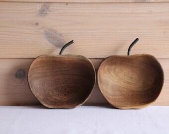 2 vintage Midcentury wooden apple shaped bowls