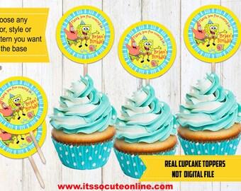 Spongebob Squarepants Cupcake Toppers/Spongebob Squarepants Cake Toppers/Spongebob Squarepants/Spongebob Topper/Spongebob Birthday/Spongebob