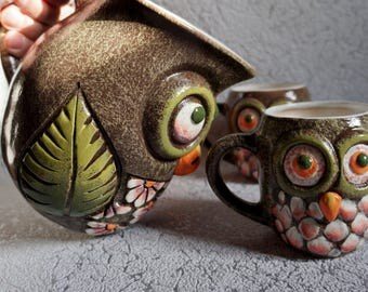 Pitcher with mugs Owls Drinking cups Children mug Owl Gift for kids Bird cup Cute mug Whimsical pottery Mothers day gift Pottery pitcher set