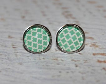 Round Glass Cabochon Stud Earrings 12mm Mint Green Clover Pattern Hypo Allergenic Surgical Steel Nickel Free