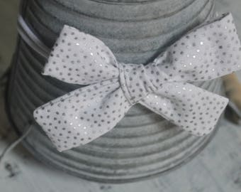 White and Silver Polka Dot Tied Knot Hair Bow