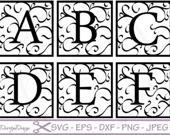 Florish Monogram Font SVG DXF, Florish font, Cut Files for Cricut, svg fonts, Letter Alphabet Set, eps Vector files, Silhouette files