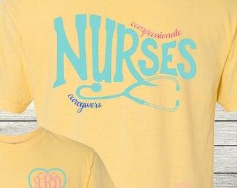 Monogrammed Nurse Nurses Compassionate Caregivers RN LPN MA Personalized Customized Nursing