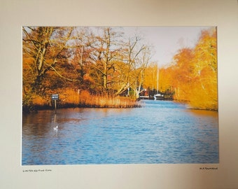 Womack Staithe, Norfolk Broads, Norfolk Print Countryside, Signed Limited Edition A3 Landscape Autumn Color Photograph, 50cm x 40cm Mount
