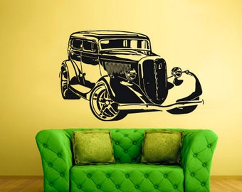 rvz2287 Wall Decal Vinyl Decal Sticker Hot Rod Car Auto Automobile Retro Old Muscule