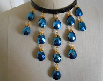 Blue choker, Blue choker necklace, Blue crystal necklace