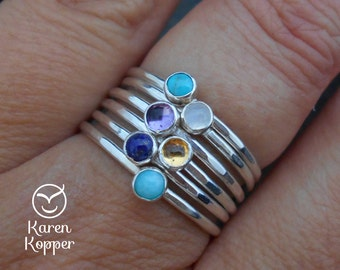 Choose a gemstone ring - Skinny sterling silver ring, hammered, 1.2 mm ring. Skinny ring, thin ring, stacking ring. Birthstone ring