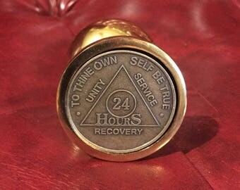 24 hour sober, large GOLD toned AA coin butt plug - adult bdsm kinky mature dom gay christian sober adventure