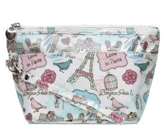 Medium Makeup bag- Oilcloth Cosmetic pouch- Oil cloth Makeup case- Ladies Beauty pouch- Cosmetic bag- Beauty purse -Paris Eiffel Tower