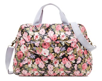 Oilcloth Overnight Bag- Floral rose- Mothers Nappy bag Baby bag- Diaper bag- Women Travel weekend bag- Ladies Duffel bag- Large Carry on bag