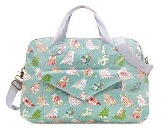 Oilcloth Overnight Bag- Green Bird- Mothers Nappy bag- Baby bag- Diaper bag- Women Travel weekend bag- Ladies Duffel bag- Large Carry on bag