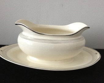 Homer Laughlin Eggshell Nautilus Ivory and Platinum Gravy Boat with UnderPlate