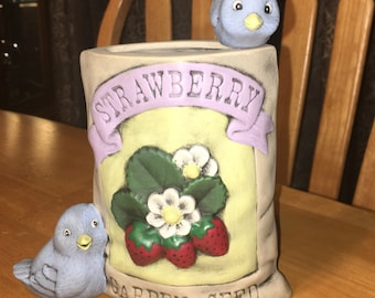 Blue Birds and Strawberry Seed Bag