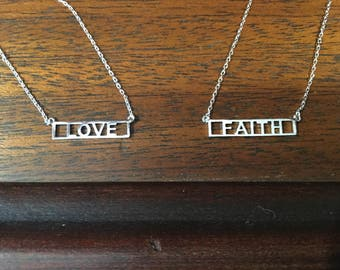 LOVE or FAITH - Silver Plated Inspirational Necklace