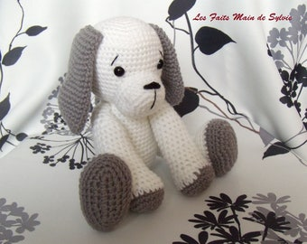 Big dog white and gray crochet