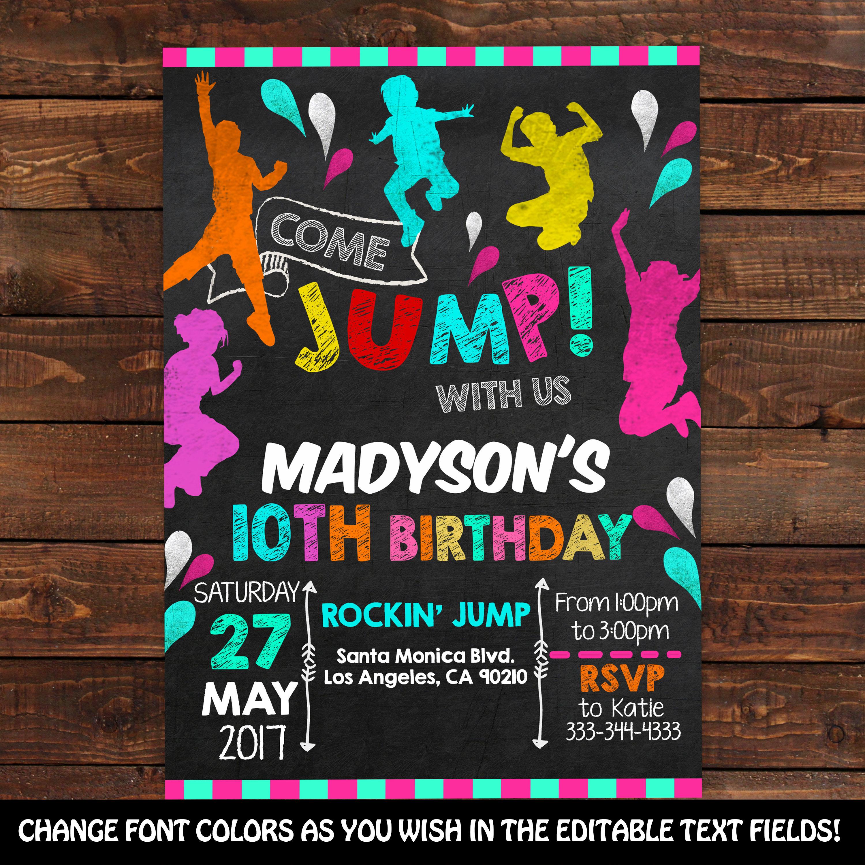 Trampoline Jump Invitation Jump Birthday Invitation