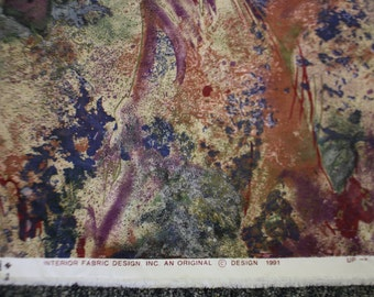 """1991 Vintage """"Interior Fabric Design, Inc."""" Colorful Splashes of Color 12' x 54"""" An Original Design Fabric Multicolored Abstract"""