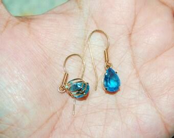 10K Yellow Gold Gemstones Hooks Stud Earrings Dangle Pear Shape Blue Topaz