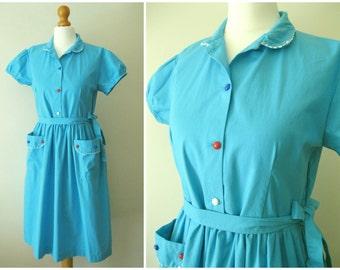 Vintage 50s Blue Turquoise Cotton Shirtwaist Dress Handmade with Pockets ricrac trim Alice in Wonderland Style S