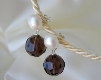 Freshwater Pearl Stud Earrings Smoky quartz Pearl studs earrings smoky quartz