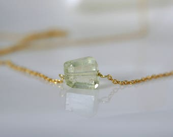 Fine necklace with gemstone aquamarine necklace 925 sterling silver gold plated